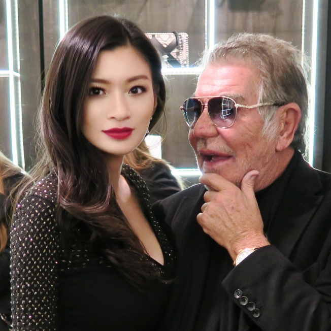 Rebecca Wang and Designer Roberto Cavalli 2014 London