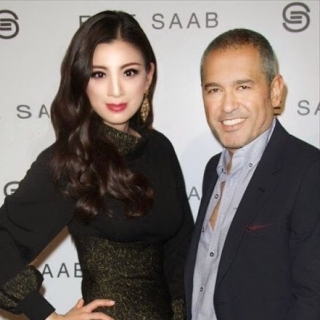 Rebecca Wang and designer Elie Sabb Paris 2013