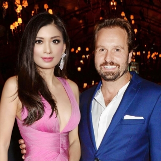 Rebecca Wang and Alfie Boe support EJAF at Windsor home of Elton John to benefit aids foundation.