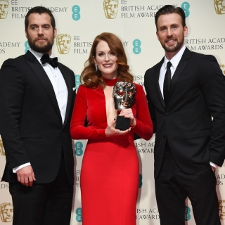 Henry Cavill Julianne Moore and Chris Evens at the 68th BAFTA Film Awards